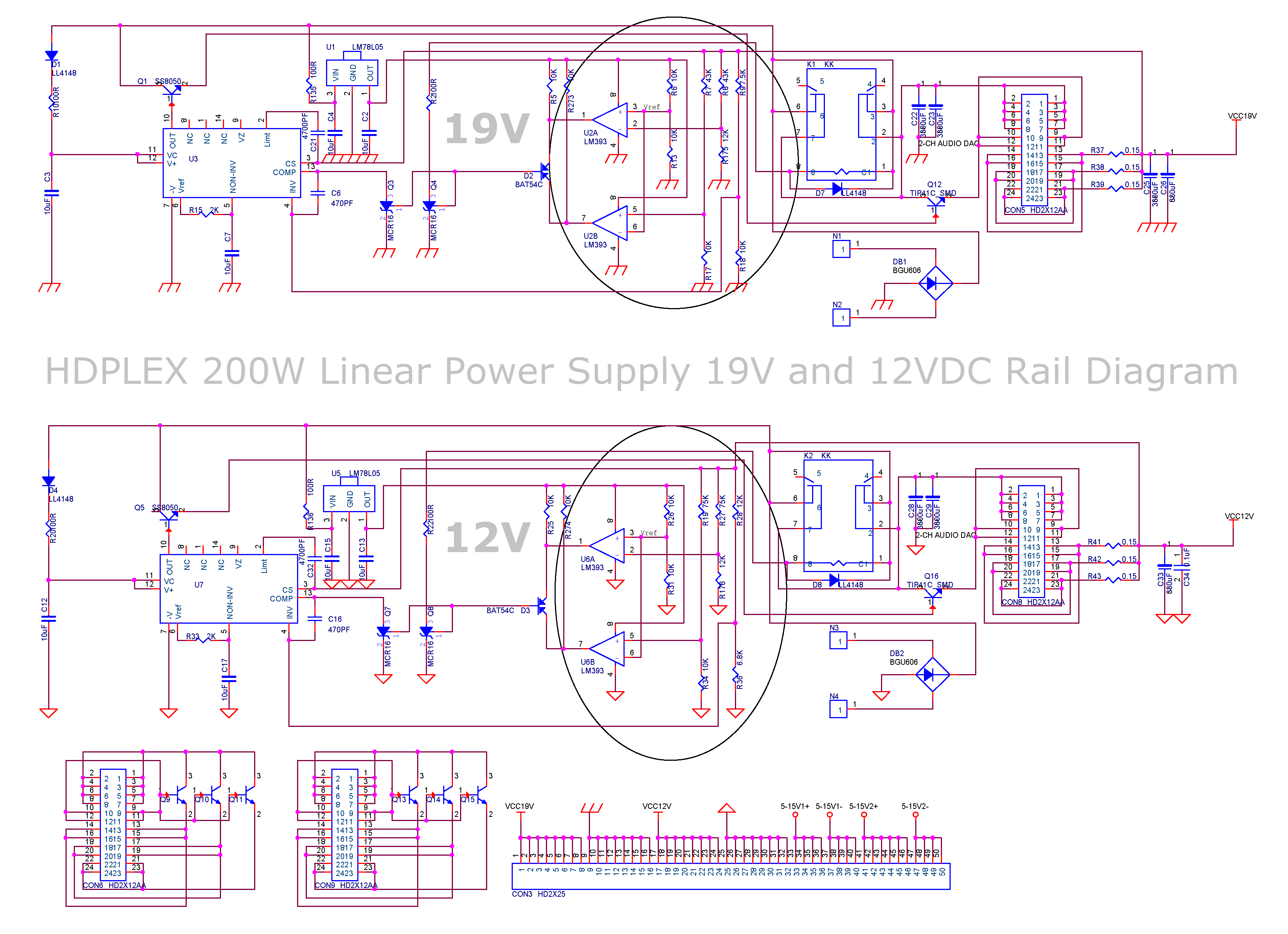 Hdplex 200w Linear Power Supply Multi Rail Output 400w Audio Amplifier Schema And Layout Psu Diagram